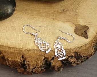 Sterling Silver Owl Earrings, all Solid Sterling Silver