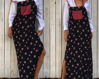 Vintage 80s Chico's Design Red Black Printed Overalls Maxi Dress, Size 2, Small
