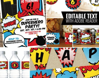 Comic Book - Superhero Decorations Package. Printable Birthday Party Decor. Funny Adult Party. Editable Text PDF. Digital Instant Download