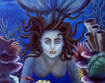 Fantasy Art print, Fantasy wall art, Mermaid wall art, Mermaid print, Fantasy Art, Art print, Gluxart, Wall art, Fantasy Illustration