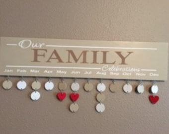 Birthday Calendar, Family Celebrations Board, Birthday Board, Family Birthday Sign, Birthday Reminder, Wood decor, Signs