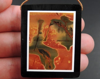 Intarsia Pendant Natural Red Creek Jasper W Black Onyx Inlay Side Drilled Rectangle Pendant Multi Color Picasso Jasper Picture Frame P1642