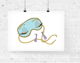 Holly Golightly's Sleep Mask Fashion Illustration Art Print