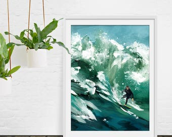 Surfing Print. Waves Print. Sea Painting. Waves Painting. Surfing Art. Green Print. Wall Art. Surfing Gift. Wall Decor. Green Lili