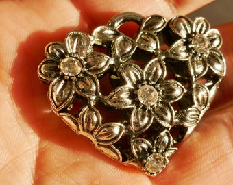 Flower Heart Pendant with Crystals - 1
