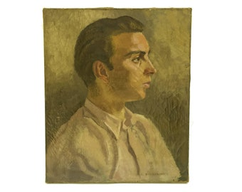 Young Man Portrait Oil Painting on Canvas. Signed by A Nordemann. Original 1920s French Male Art.