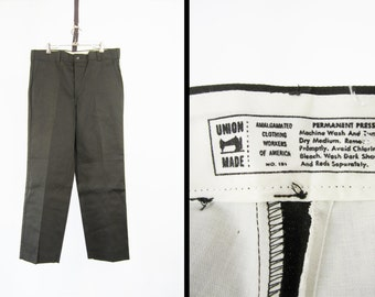 NOS Vintage Twill Work Pants 70s Union Made Chinos Deadstock Grey Green Workwear