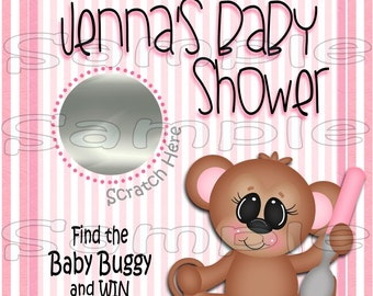 Baby Scratch off cards Monkey Baby girl Shower Game Scratch tags Party Scratch off game Favor Invitations Scratch off tags 12 Precut printed