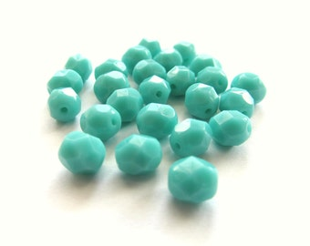 Blue Turquoise Faceted Czech Glass Round Beads, 6mm - 25 pieces