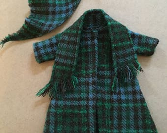 Vintage Handmade Barbie Coat-Plaid Wool Scarf and Kerchief