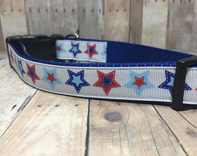 "The Liberty | Designer 1"" Width Dog Collar | CupcakePups Collars | Fourth of July | Stars - Medium/Large Dog Collar"