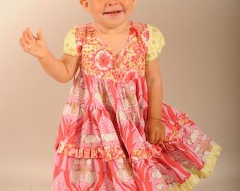 Girl's Ruffled Dress, Toddler Dress, Baby girl dress, Flower Girl Dress, children clothing, kids dresses, pink, sizes 12-18 mos and 2 / 3