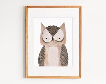 Nursery or Kids' Room Animal Print, Watercolor Owl