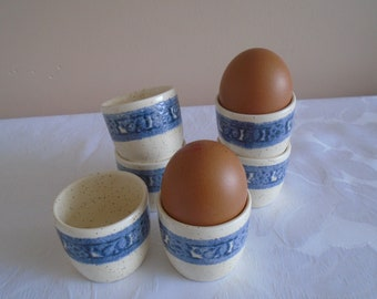 Staffordshire iron stone egg cups blue banded x 6