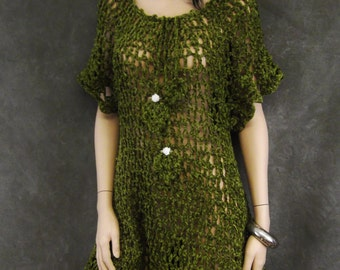 OOAK, Olive Green,Chenille,Crochet Dress,Women,Small, 3/4 sleeves,Clothing,Beach Coverup,