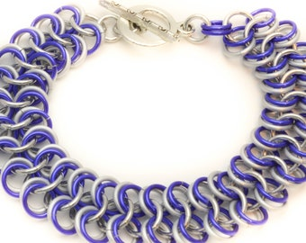 Lapis Blue  and Frost White Lightweight Chainmaille Bracelet