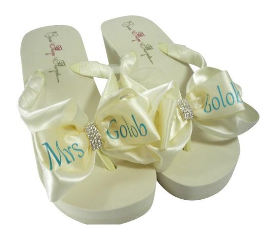Name Flops Bridal Blue Emerald Cut Sandals Wedge Rhinestone Personalized Island with Flip Embellishment Mrs xAPqYggw