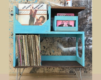 Vinyl Record End Table Display With Hairpin Legs // Stash and Protect Your Collection of up to 160 Twelve Inch Vinyl Records
