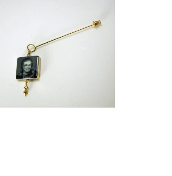 Gold-filled Photo Memorial Boutonniere / Corsage Charm, Small - FBPP3Fl-GF-P