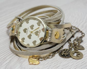 Hart gold Wrap Watch, Floral Watch, Leather Wrap Watch, Wrap Around Watch, Quartz Watch,  for Friends, Christmas Presents