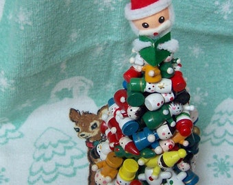 tiny wooden christmas character tree