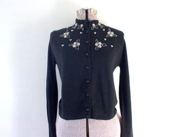Pearl Flowers 1950s Beaded Sweater Cardigan
