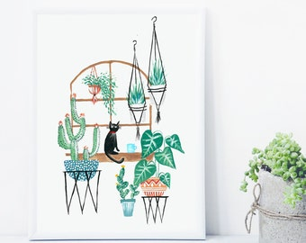 Cat Potted Jungle Print, Cat Lover Gift Indoor Plant Print, Monstera Leaf print, Cactus Print, Botanical Illustration,