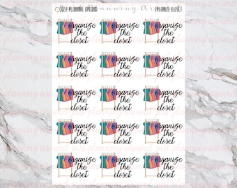 Organize Closet Stickers, Housework Stickers, House Chore Stickers, for use with  Erin Condren, Happy Planner
