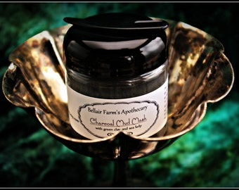 Activated Charcoal Mud Mask, 1 oz jar pore refining, anti acne clay mask with activated charcoal, sea kelp, and montmorillonite green clay