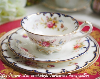 Sale 30% off : Vintage Cauldon tea cup and saucer and dessert plate, trio 3pcs set in floral decoration and gilt rim (A)