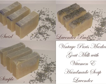 Natural Handmade Soap Lavender Cold Process Goat Milk with Vitamin E Vintage Inspired Decor