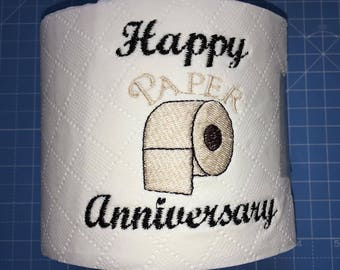Novelty Embroidered 'Happy Paper Anniversary' toilet roll **ideal gift**