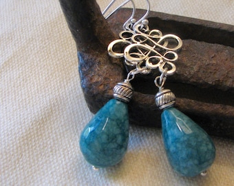 silver and teal dangle earrings