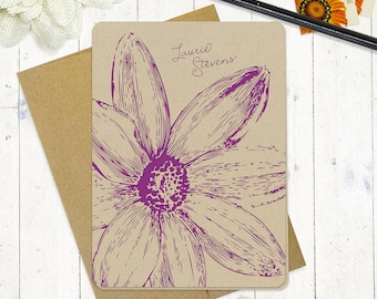 personalized note cards stationery set - DAISY FLOWER BLOOM - set of 8 folded cards - kraft stationary - floral - flower - botanical