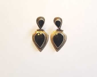 Epic Vintage CW Sterling Silver and Onyx Teardrop Hinged Post Earrings- Signed