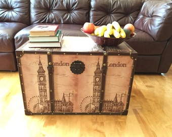 London Bell Tower Steamer Trunk Wood Storage Wooden Treasure Chest