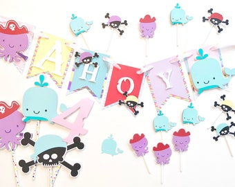 Pirate birthday pack, pirate banner, pirate birthday decorations, AHOY banner, sea banner, pirate party fully assembled birthday banner