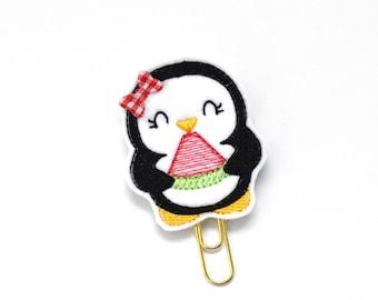 Watermelon Penguin Felt Planner Clip / Bookmark