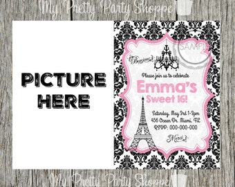 Sweet 16 Paris / Shopping / France / Eiffel Tower Birthday Party / Bachelorette Party / Baby Shower Invitation
