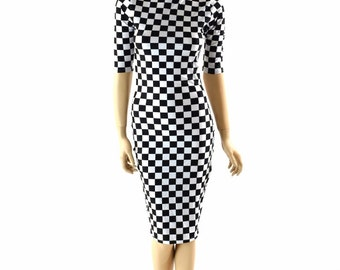 Half Sleeve, Turtle Neck Knee Length UV Glow Black & White Checkered Winners Flag Print Bodycon Clubwear Dress 152411
