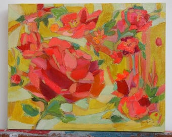 original floral painting 8x10 Sunshine