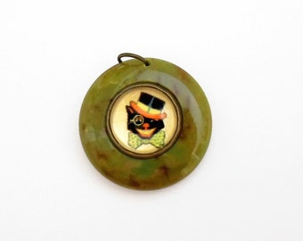 Vintage BAKELITE COOL Black CAT Halloween Charm Marbled Green