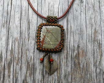 Beaded Cabochon Beaded Bale Necklace - Bead Weaving - Statement Necklace - Jasper Cabochon - Suede Cord - BOHO