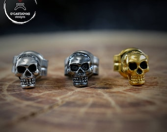 Silver Tiny Skulls Earrings, Silver skull earrings, Tiny earrings, Sterling Silver Skulls, Memento Mori, Men Jewelry