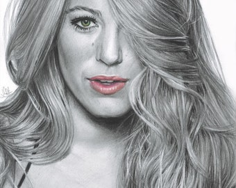 Drawing Print of Blake Lively (The Shallows, Age of Adaline, Gossip Girl, Green Lantern)