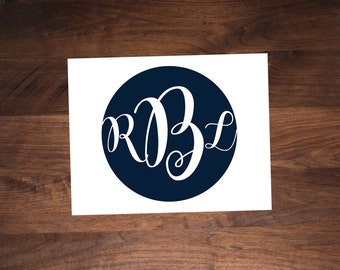 Monogrammed, Flat Card Stationery
