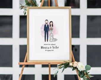 Custom Portrait Wedding Welcome Sign