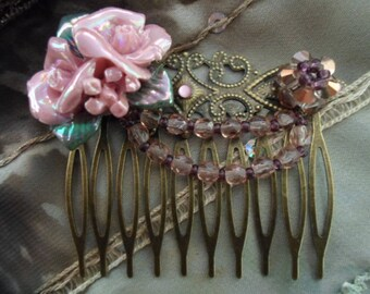 Pink and vintage bronze hair comb