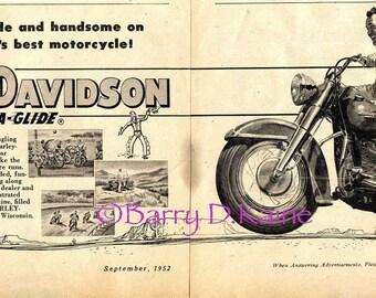 Harley Davidson Vintage 1952 ad print