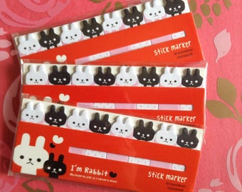 Black, White, and Pink Rabbit Sticky Notes